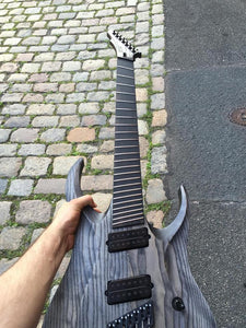 HAPAS Guitars Kayzer Multiscale 7FF:  Pale Coal Over Two Piece Ash body, Hand wound pickups.