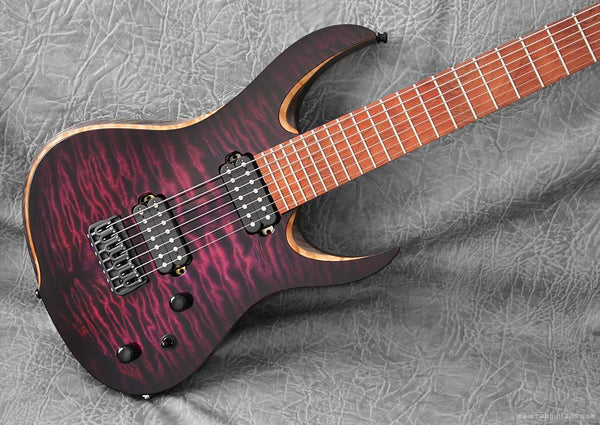 "RAN Crusher 7 27"".  Quilted Maple Over Swamp Ash (Antiqued Black) Bubinga Fretboard."