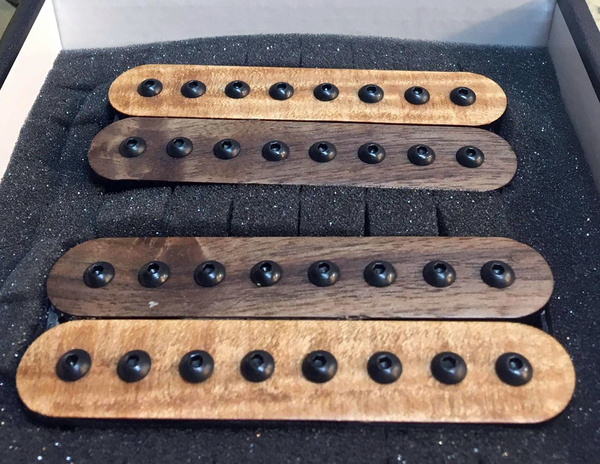 The Guitarmory. Walnut And Maple Bobbin guitar pickups.