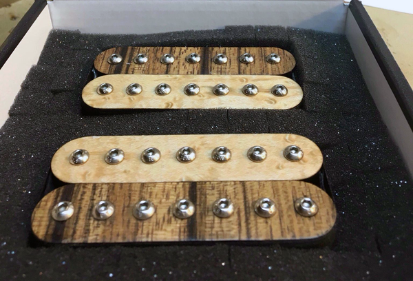 The Guitarmory. Black Limba And Maple Bobbin guitar pickups.
