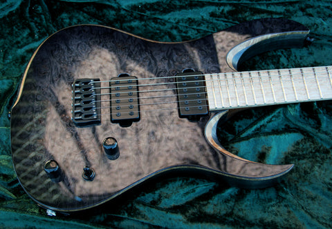 RAN: Crusher 6FT: Maple Burl Over Swamp Ash, Birdseye Maple Fretboard. Available Now!