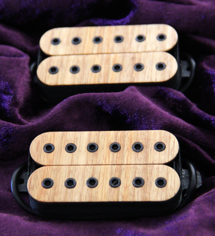 Foxbat 6 Guitar Humbucker Pickups. Exotic Canary Wood Bobbins.