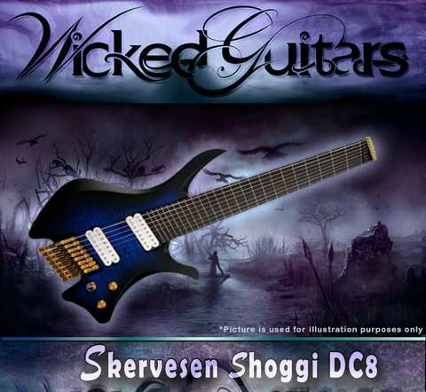 Skervesen: Shoggie DC8FF Multiscale: High Grade Quilted Maple over Swamp Ash Body & Ebony Fretboard