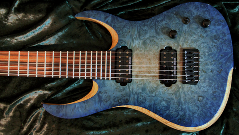 RAN: Crusher 7FT: Maple Burl Over Swamp Ash, Macassar Ebony Fretboard. Available Now!