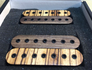 The Guitarmory. Zebrano and Walnut Bobbin guitar pickups.