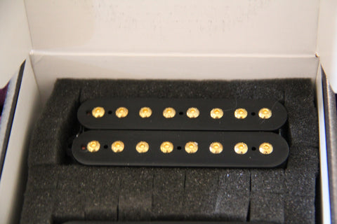Foxbat 8 Guitar Humbucker Pickups. Black Bobbins Gold Bolts