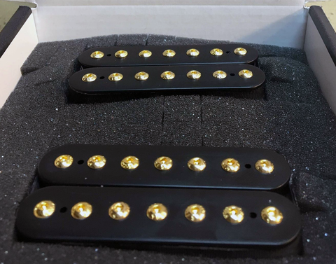 Minuteman 7 Custom Guitar Pickups Set. Black Bobbins, Gold Bolts