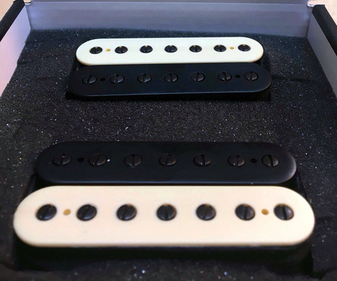 Orion 7 Custom Guitar Pickups Set. Black/Creme Zebra Bobbins