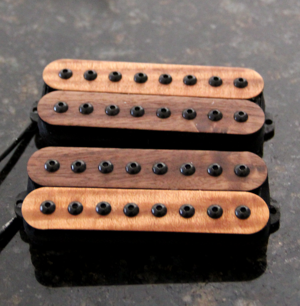 Atlas 8 String Humbucker Pickup Custom Set. Exotic Maple/Walnut Bobbins