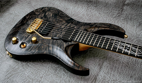 RAN: Custom Crusher 6 NTB, Gold Hardware: Trans Black Eye Poplar Over Mahogany with Ebony Fretboard. Preorder, available now