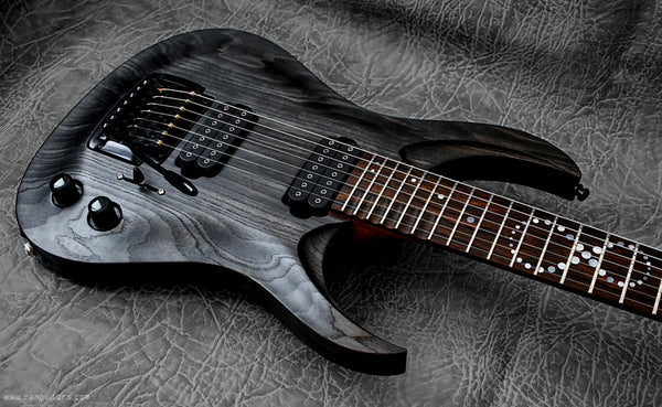 RAN: Crusher Custom 727: Swamp Ash Antiqued Black, Ziricote Fretboard. Preorder, available now.