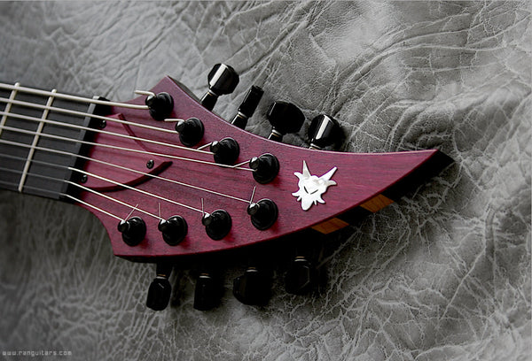RAN: Crusher 828: Purple Heart Over Mahogany/Boire, Ebony Fretboard. Preorder, Available Now.