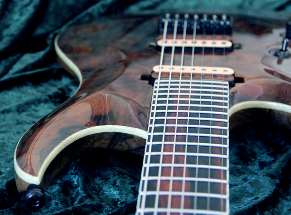 BlacKat DC727: Walnut over Black Limba. Bare Knuckle Pickups.