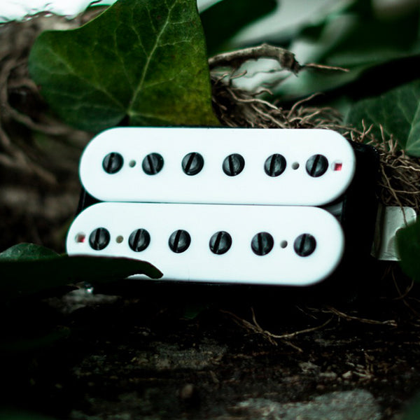 The Guitarmory. White Bobbin Guitar Humbucker pickup.