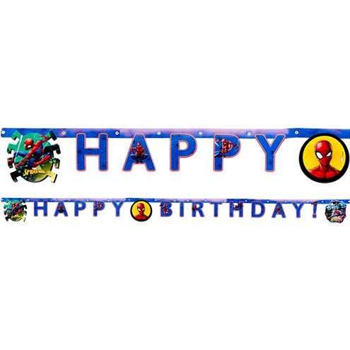 Happy Birthday Banner - Spiderman Party