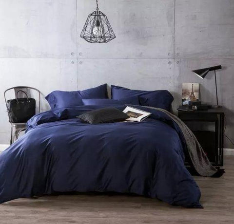 Blue Satin Duvet Covet  PLUS Sheet Set - Satin Bedding