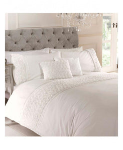 Limoges Rose Ruffle CREAM Duvet Cover And Pillowcase Set - Ruffle Bedding
