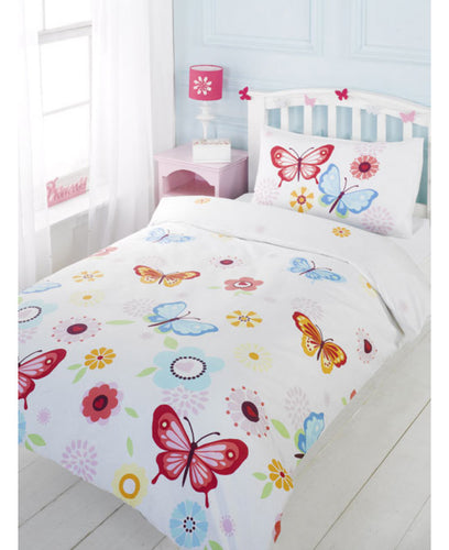 Butterfly Single Duvet Cover And Pillowcase Set - White- Butterfly Duvet