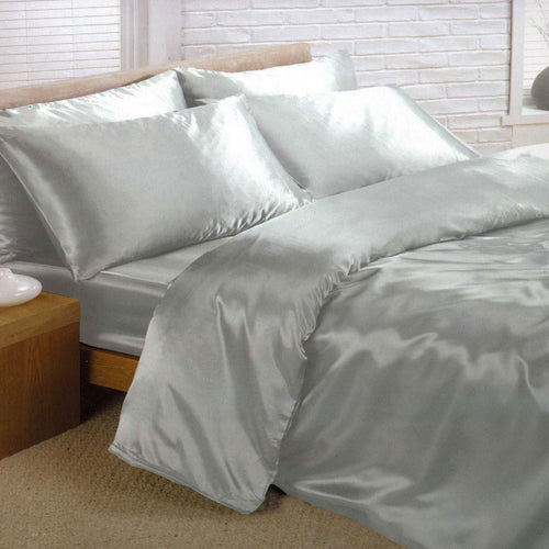 Silver Satin Duvet Covet  PLUS Sheet Set - Satin Bedding