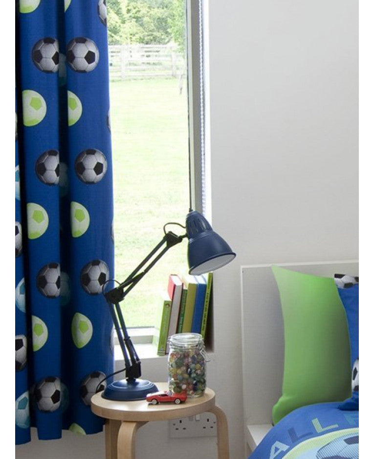 Catherine Lansfield Lined Football Curtains - Blue - Football Bedding