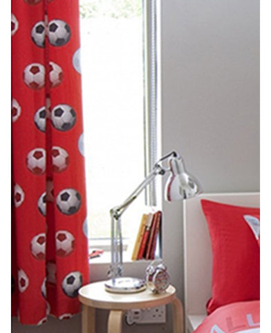 Catherine Lansfield Lined Football Curtains - Red - Soccer / Football Bedding