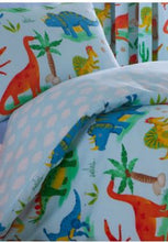 Load image into Gallery viewer, Dinosaur Duvet - Dinosaur Bedding - BLUE