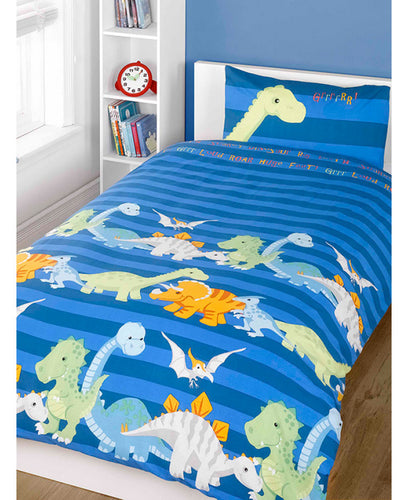 Dinosaurs Cover And Pillowcase Set - Blue