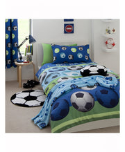 Load image into Gallery viewer, Catherine Lansfield Lined Football Curtains - Blue - Football Bedding