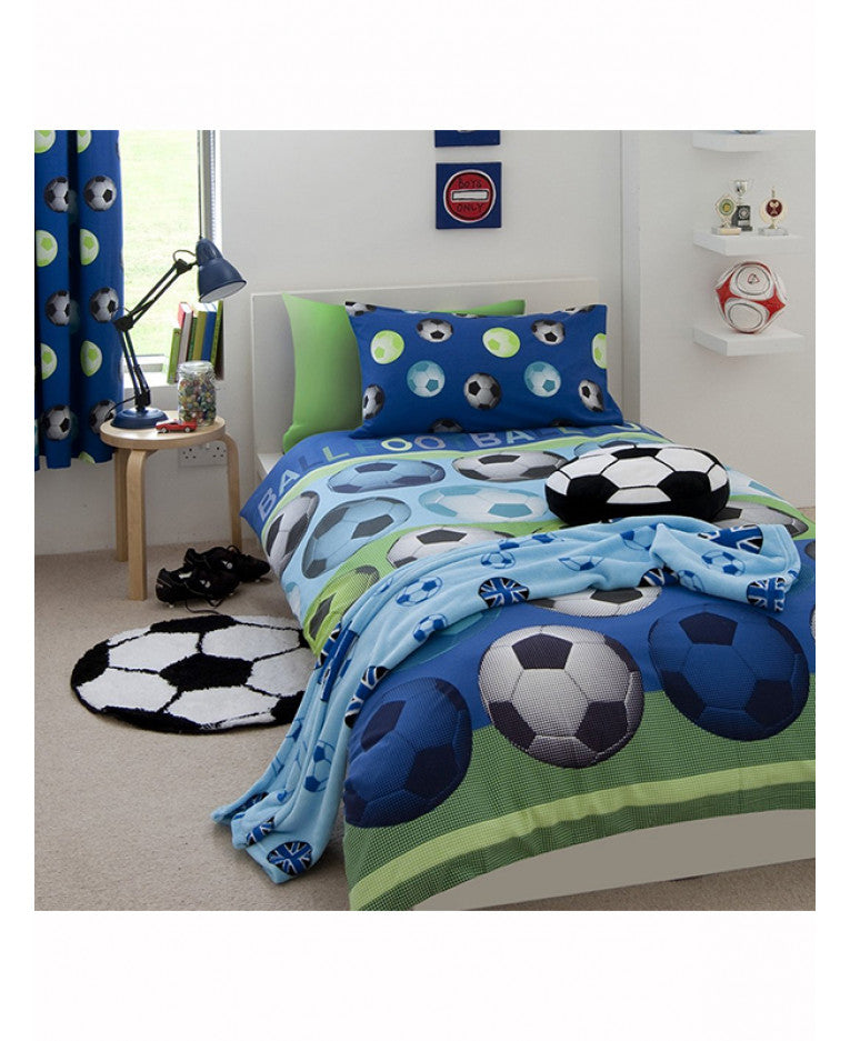 Catherine Lansfield Football Blue Duvet Cover Set - Soccer / Football Bedding