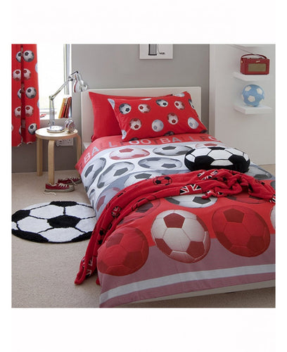Catherine Lansfield Football Red Duvet Cover Set - Soccer / Football Bedding