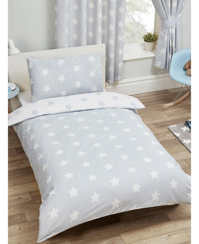 Grey And White Stars Duvet Cover And Pillowcase Set - Kids Bedding