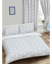 Load image into Gallery viewer, Grey And White Stars Duvet Cover And Pillowcase Set - Kids Bedding