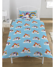 Load image into Gallery viewer, Rainbow Unicorns Duvet Cover And Pillowcase Set  - Unicorn Duvet