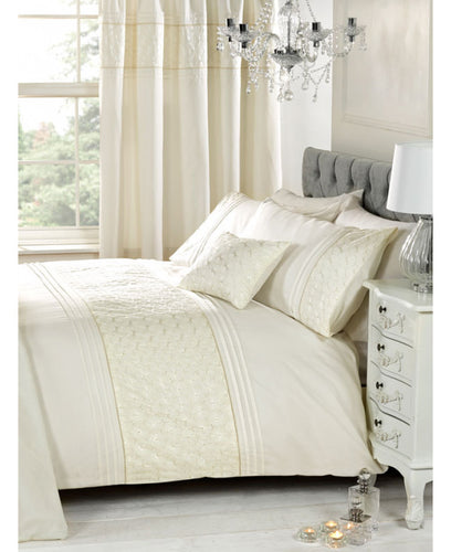 Everdean Floral Duvet Cover And Pillowcase Set- CREAM - Ruffle Bedding / Floral Bedding