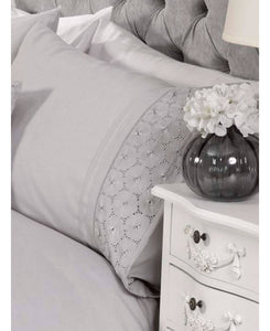 Everdean Floral Duvet Cover And Pillowcase Set- GREY - Ruffle Bedding / Floral Bedding