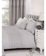Load image into Gallery viewer, Everdean Floral Duvet Cover And Pillowcase Set- GREY - Ruffle Bedding / Floral Bedding