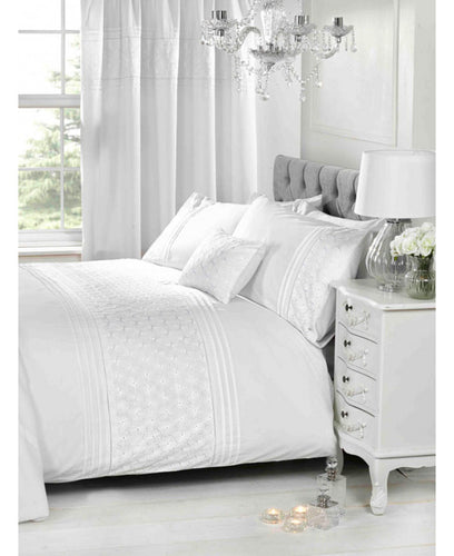 Everdean Floral Duvet Cover And Pillowcase Set- WHITE - Ruffle Bedding / Floral Bedding
