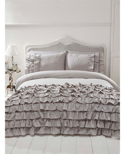 Flamenco Ruffle GREY Duvet Cover And Pillowcase Set - Ruffle Bedding