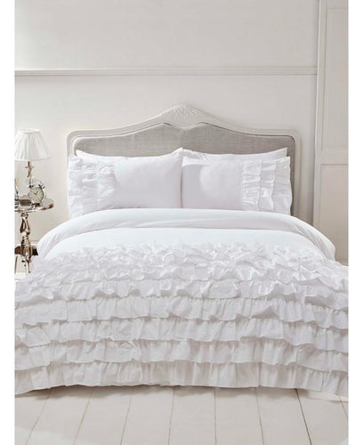 Flamenco Ruffle WHITE Duvet Cover And Pillowcase Set - Ruffle Bedding