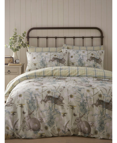 Portfolio Rabbit Meadow Sage Duvet Cover Set - Floral Bedding