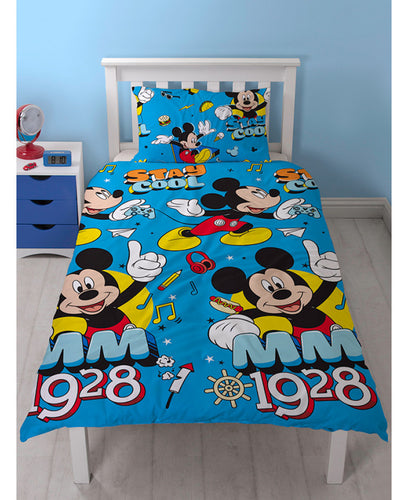 Mickey Mouse Cool Single Duvet Cover And Pillowcase Set - Mickey Mouse Bedding