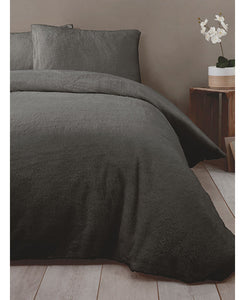 Snuggle Bedding Teddy Fleece Duvet Cover Set - Charcoal