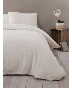 Snuggle Bedding Teddy Fleece Duvet Cover Set - Cream