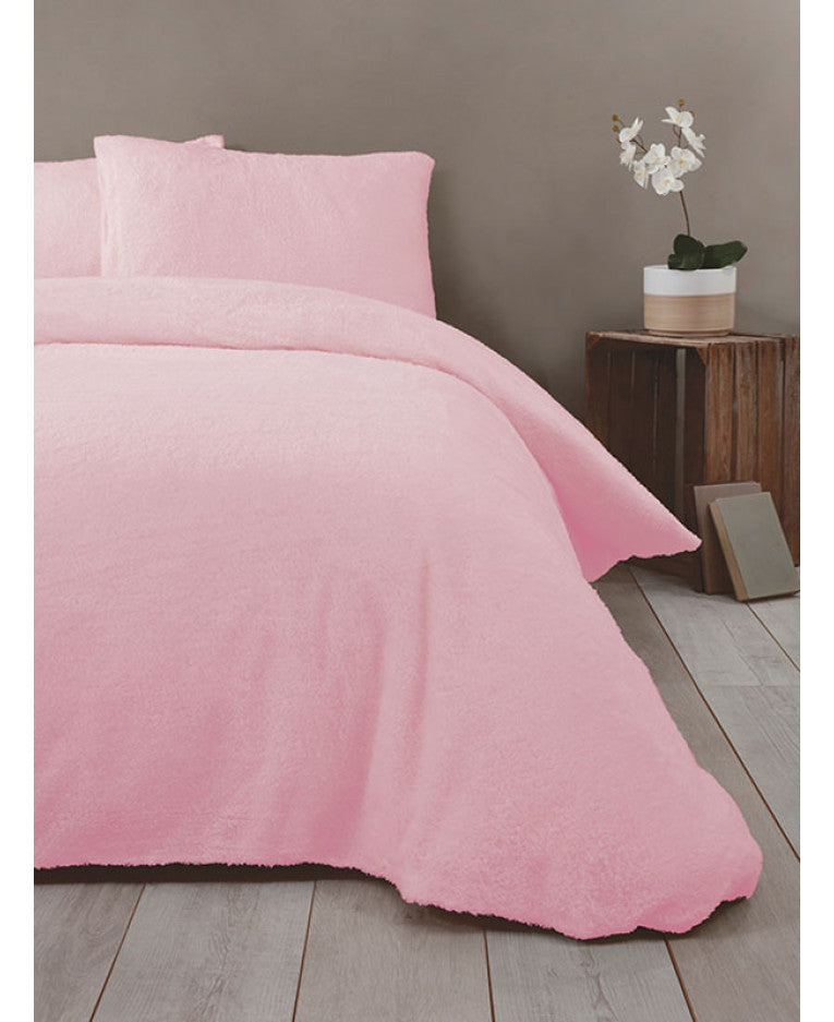 Snuggle Bedding Teddy Fleece Duvet Cover Set - Pink