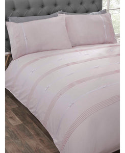 Clarissa Duvet Cover And Pillowcase Bed Set - BLUSH/PINK -  Ruffle Bedding