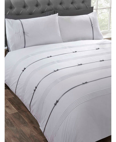 Clarissa Duvet Cover And Pillowcase Bed Set - WHITE -  Ruffle Bedding