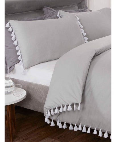 Tassel Duvet Cover And Pillowcase Bed Set - SILVER-  Ruffle Bedding