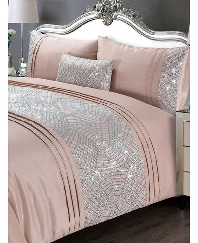 Charleston Duvet Cover And Pillowcase Bed Set - PINK- Bling Bedding