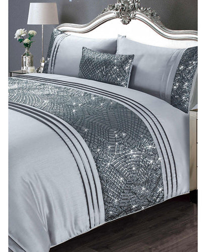 Charleston Duvet Cover And Pillowcase Bed Set - GREY - Bling Bedding