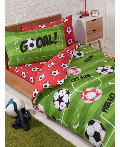 FITTED SHEET FOOTBALLER SELFIE KICK BOYS SINGLE DUVET COVER SET PILLOWCASES